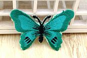 Embroidered Butterfly Applique Teal Black (GB562)