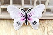 Embroidered Butterfly Applique White Black (GB562)