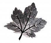 """Embroidered Leaf Applique Gray Iron On Clothing Patch Craft Motif  3.125"""" (GB563)"""