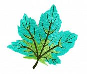 "Embroidered Leaf Applique Teal Iron On Clothing Patch Craft Motif  3.125"" (GB563)"