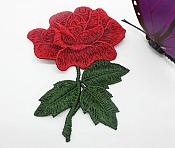 """Embroidered Rose Applique Red Clothing Patch Craft Motif  3.5"""" (GB565)"""