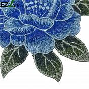 """Embroidered Floral Applique Blue Clothing Patch Craft Motif  6.25"""" (GB566)"""