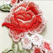"""Embroidered Floral Applique Pair Red Peach Clothing Patch Craft Motif 9"""" (GB568X)"""
