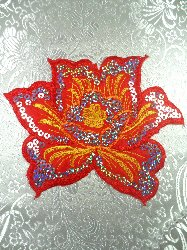 GB57 Red Yellow Flower Silver Sequin Embroidered Floral Applique 6""