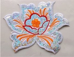 GB57 White Flower Sequin Embroidered Floral Applique 6""