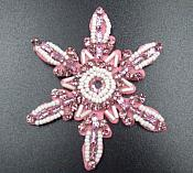 Rhinestone Applique Snowflake Pink Beaded Patch Craft Motif (GB572)