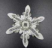 Rhinestone Applique Snowflake White Beaded Patch Craft Motif (GB572)