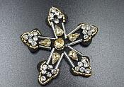 Rhinestone Applique Star Silver Gold Beaded Patch Craft Motif With Black Backing (GB573)