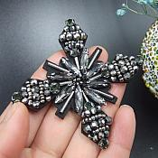 Rhinestone Applique Snowflake Gunmetal Beaded Patch Craft Motif With Black Backing (GB574)