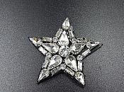 Rhinestone Applique Star Crystal Patch Craft Motif With Black Backing (GB577)