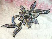 "Black Silver Holographic Flower Sequin Embroidered Applique 9.5"" (GB58)"