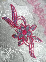 GB58 Dark Pink Fuchsia Flower Sequin Embroidered Floral Applique 9.5""