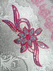 """GB58 Dark Pink Fuchsia Flower Sequin Embroidered Floral Applique 9.5"""""""
