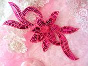 "Fuchsia Flower Fuchsia Sequin Embroidered Floral Applique 9.5"" (GB58)"