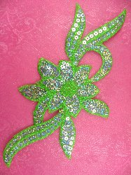 GB58 Green Flower Sequin Embroidered Floral Applique 9.5""