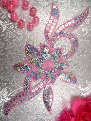 GB58 Light Pink Flower Sequin Embroidered Floral Applique 9.5""
