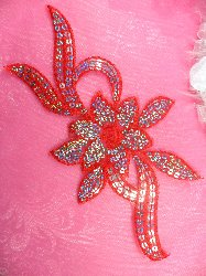 GB58 Red Flower Sequin Embroidered Floral Applique 9.5""