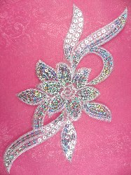 """GB58 White Flower Sequin Embroidered Floral Applique 9.5"""""""