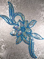 GB58 Turquoise Flower Sequin Embroidered Floral Applique 9.5""