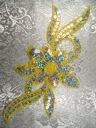 """RMGB58 Yellow Flower Sequin Embroidered Floral Applique 9.5"""""""