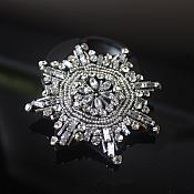Rhinestone Applique Star Silver Crystal Beaded Patch Craft Motif With Black Backing (GB580)