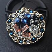 Rhinestone Applique Blue Gold Beaded Patch Craft Motif With Gold Chain (GB581)