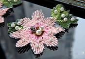 Flower Embroidered Applique Pink Patch With Pearls (GB583)