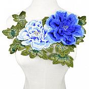 """3D Applique Embroidered Floral Blue Craft Patch 13.5"""" (GB587)"""