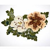 """3D Applique Embroidered Floral Brown Beige Craft Patch 13.5"""" (GB587)"""