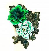 "3D Applique Embroidered Floral Green Craft Patch 13.5"" (GB587)"