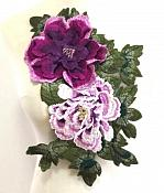 "3D Applique Embroidered Floral Lavender Craft Patch 13.5"" (GB587)"
