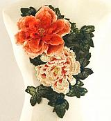 "3D Applique Embroidered Floral Orange Craft Patch 13.5"" (GB587)"