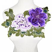 "3D Applique Embroidered Floral Purple Craft Patch 13.5"" (GB587)"