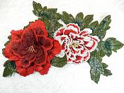 "Embroidered Floral 3D Applique Red Burgundy Craft Patch 13.5"" (GB587)"