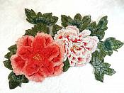 "Embroidered Floral 3D Applique Red Peach Craft Patch 13.5"" (GB587)"