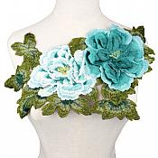 """3D Applique Embroidered Floral Teal Craft Patch 13.5"""" (GB587)"""