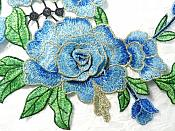 """Embroidered Floral 3D Applique Mirror Pair Blue Craft Patch 14"""" (GB588X)"""
