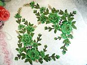 "Embroidered Floral 3D Applique Mirror Pair Green Craft Patch 14"" (GB588X)"