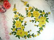 """Embroidered Floral 3D Applique Mirror Pair Yellow Craft Patch 14"""" (GB588X)"""