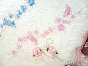 """Butterfly Vine Applique Embroidered Pink Flower Clusters Iron On 10.5"""" (GB590)"""