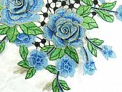 """Embroidered Floral 3D Applique Blue Craft Patch Clothing Motif 15"""" (GB591)"""