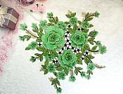 "Embroidered Floral 3D Applique Green Craft Patch Clothing Motif 15"" (GB591)"