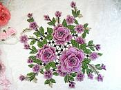 "Embroidered Floral 3D Applique Lavender Craft Patch Clothing Motif 15"" (GB591)"