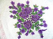 "Embroidered Floral 3D Applique Purple Craft Patch Clothing Motif 15"" (GB591)"