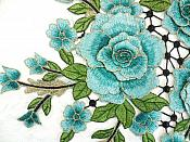 """Embroidered Floral 3D Applique Teal Craft Patch Clothing Motif 15"""" (GB591)"""