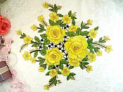 """Embroidered Floral 3D Applique Yellow Craft Patch Clothing Motif 15"""" (GB591)"""