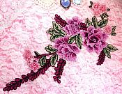 "Embroidered Floral 3D Applique Lavender Pink Craft Patch Clothing Motif 14.5"" (GB595)"