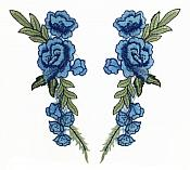 """Embroidered Floral Applique Mirror Pair Blue Clothing Patch Craft Motif 12"""" (GB596X)"""