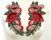 """Embroidered Floral Applique Mirror Pair Red Clothing Patch Craft Motif 10.5"""" (GB600X)"""
