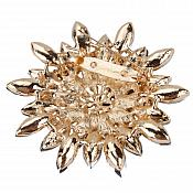 Bridal Rhinestone Brooch Floral Gold Starburst Pin (GB607)